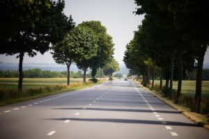 Road near Chateau d'Hallines in Northern France