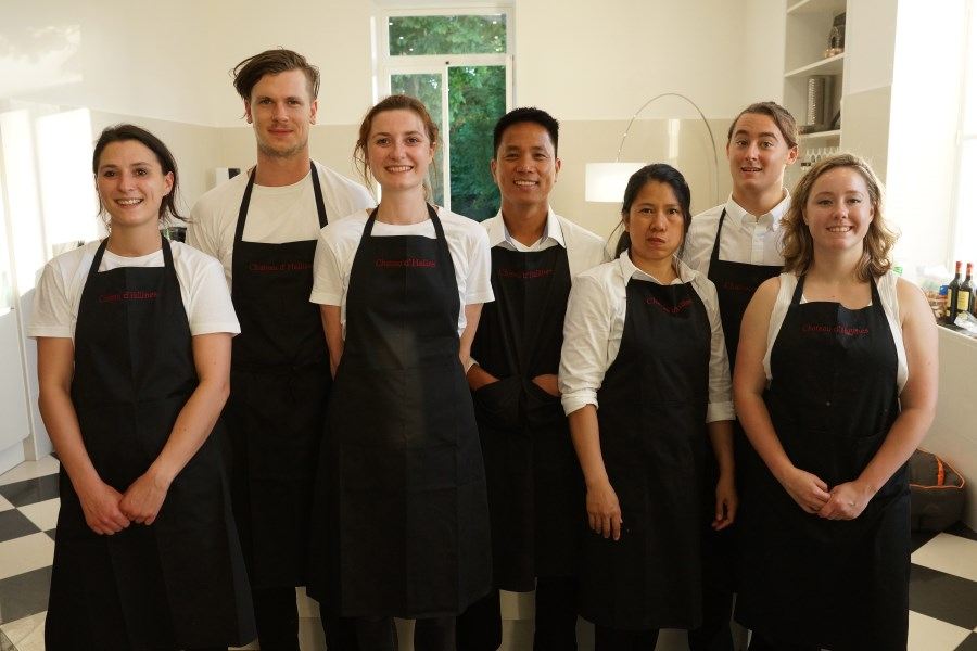 Catering staff at Big Chateau, Hallines, Northern France