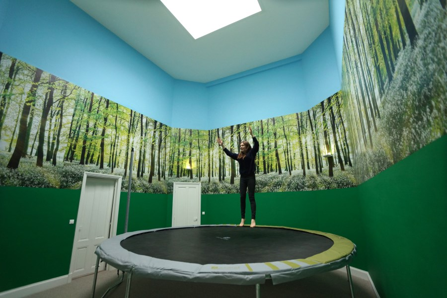 Trampoline room, top floor of Big Chateau, Hallines, France