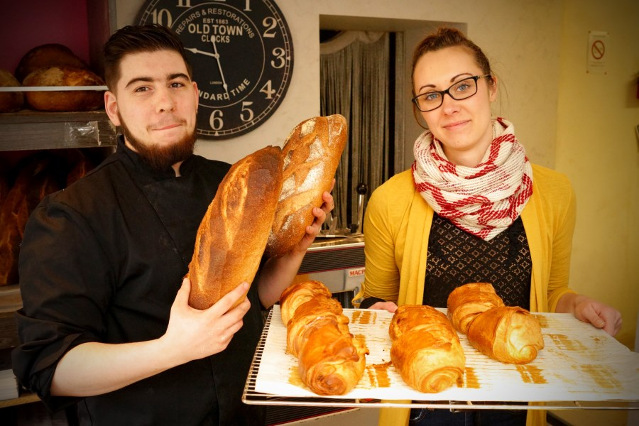 Steven and Perrine at the Hallines bakery