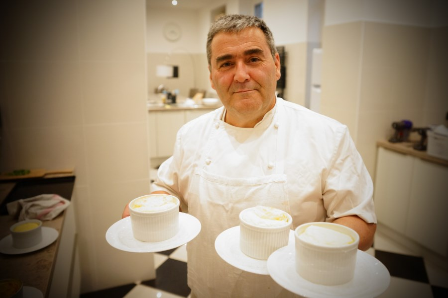 Olivier Delvar with cheese soufflés